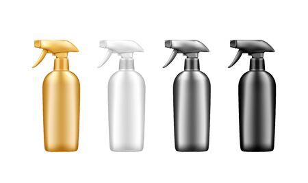 Set of plastic spray pistol cosmetic bottle mockup isolated from background - golden, silver, white, black