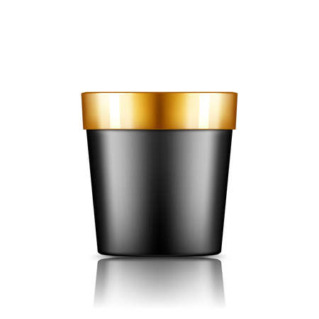 Black plastic bucket mockup isolated from background: ice cream or yogurt container