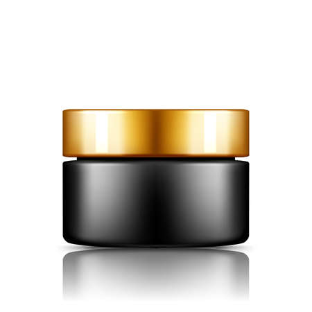Black cosmetic jar with silver cap mockup isolated from background: lotion, cream, powder