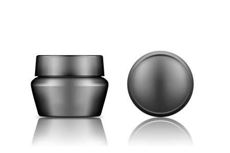 Black cosmetic jar with top cap view mockup isolated from background: lotion, cream, powder