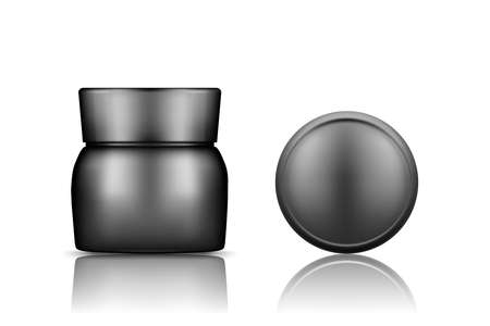 Black cosmetic jar with cap top view mockup isolated from background: lotion, cream, powder