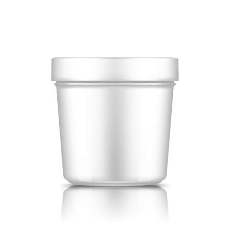 White plastic bucket mockup isolated from background: ice cream, butter or yogurt container. Package design for branding. Blank food, medical, beauty product template. 3d realistic vector illustration