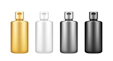Liquid detergent or bleach black bottle mockup set