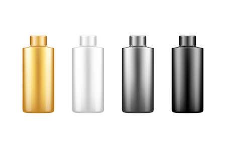 Set of shampoo bottle mockups isolated on white background