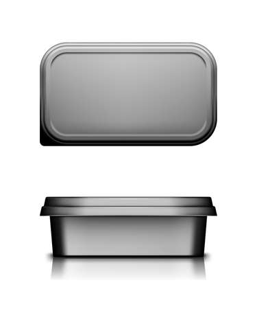Black cheese, butter or margarine container with lid mockup - front and top view.