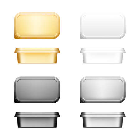Cheese, butter or margarine container with lid mockup - front and top view.
