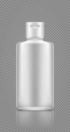 Shampoo, gel empty transparent bottle mockup. Plastic package design