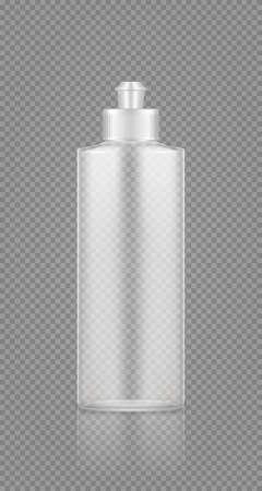 Dishwashing detergent, rinser empty transparent plastic bottle mockup with cap