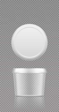 Empty transparent butter, cheese or margarine circle container with lid mockup