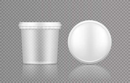 Empty transparent bucket with cap top view mockup Vettoriali