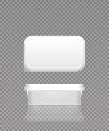 Empty transparent cheese, butter or margarine container with lid mockup - front and top view. Illustration