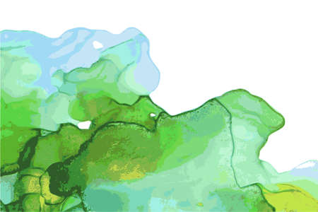 Green, and blue stone marble texture. Alcohol ink technique