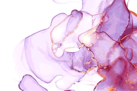 Violet and gold stone marble texture. Alcohol ink technique abstract vector background. Modern luxury paint in natural colors with glitter. Template for banner, poster design. Fluid art painting