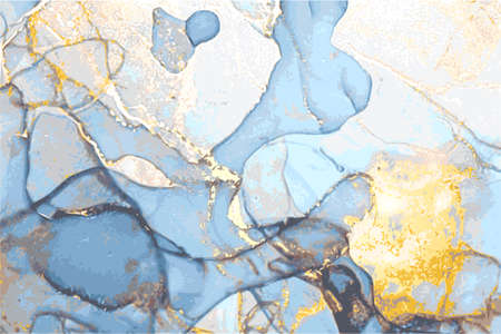Blue and gold marble abstract background. Alcohol ink oriental technique. Vector art. Flow paint in natural colors with glitter. Template for banner, poster, invitation. Vektorgrafik