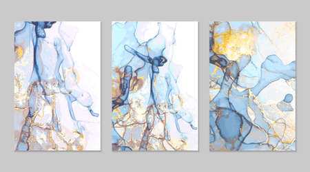 Bue, gray and gold marble abstract backgrounds in alcohol ink technique. Set of vector stone textures. Modern paint with glitter. Template for banner, poster design. Fluid art painting