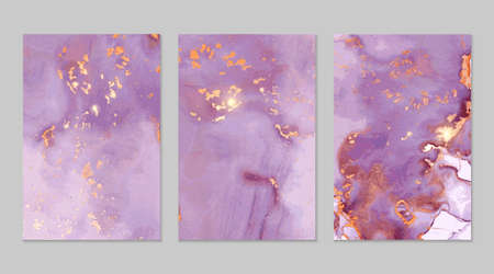 Pink, purple and gold marble abstract backgrounds in alcohol ink technique. Set of vector stone textures. Modern paint with glitter. Template for banner, poster design. Fluid art painting