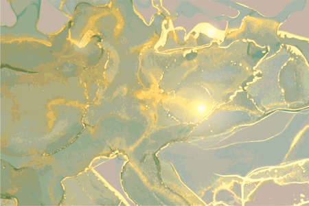 Green-grey, green and gold stone marble texture. Alcohol ink technique 矢量图片