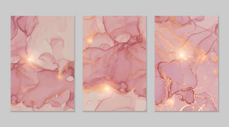 Pink, rose, gold marble abstract backgrounds set Çizim