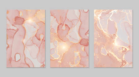 Rose, peach, gold marble abstract backgrounds set