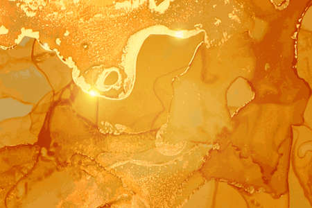 Orange and gold marble pattern. Alcohol ink technique stone texture 일러스트