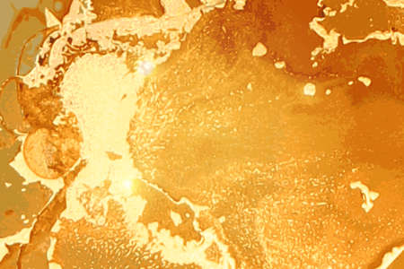 Gold and amber geode. Marble abstract pattern. Alcohol ink technique Ilustración de vector