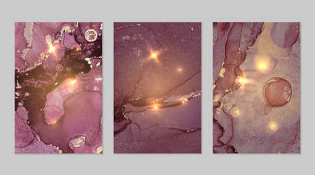 Set of marble patterns. Gold and purple geode textures with glitter. Abstract vector background in alcohol ink technique. Modern paint with sparkles. Backdrops for banner, poster. Fluid art