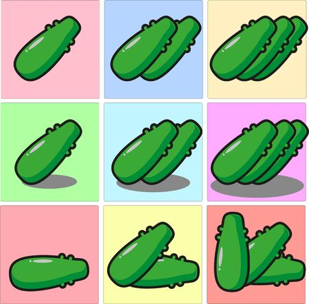Long, green cucumber with bumpy skin one two three set with shadows and different position 矢量图像