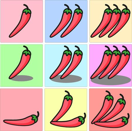 Bright red Mexican chili pepper, slightly curled and with a green stem one two three set with shadows and different position 向量圖像