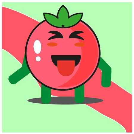 Cute tomato fruits cartoon face mascot character with hand and leg vector design