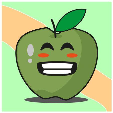 Cute green apple fruit cartoon face mascot character vector design
