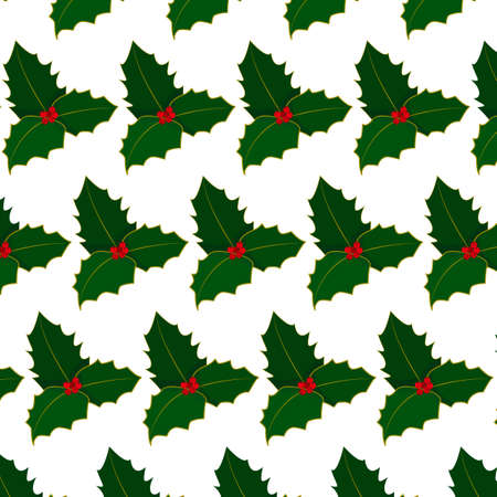 pattern with white background, green holly with red berries