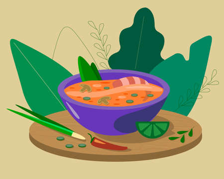 A plate of delicious Thai Tom Yam soup