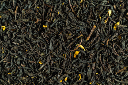 Black tea, dry leaves with flowers for all photos Stock fotó