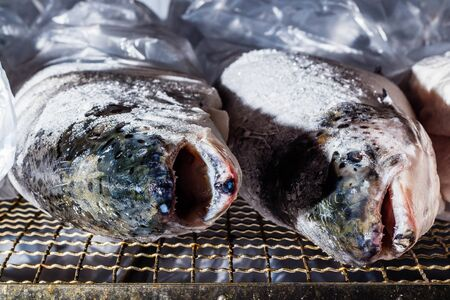Chilled fish heads are laid out for processing and packaging at the factory. In polyethylene