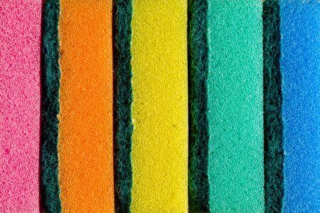 Spugne multicolori di fila. Materiale in microfibra. Lavastoviglie. Archivio Fotografico