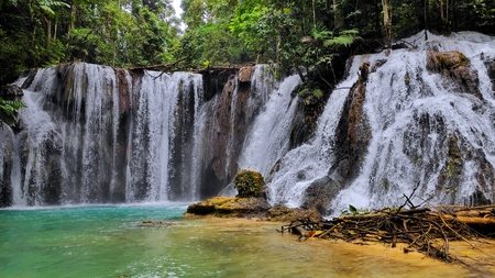 Piala waterfall in Luwuk central Sulawesi Stock Photo