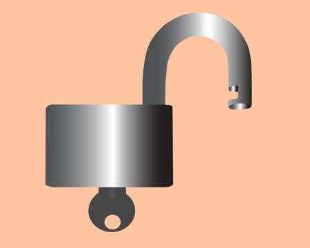 sedimentary: Lock and key is seen On drawing. The Vector picture.