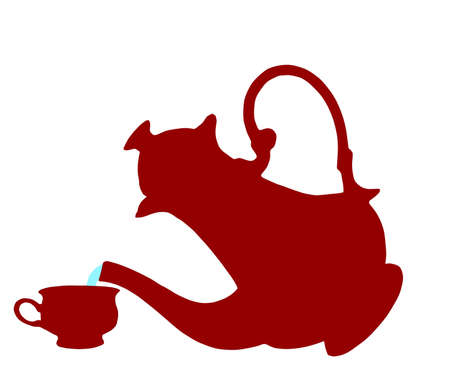 On white background, is drawn teapot and cup. Illustration