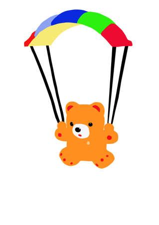 pl�schtier: Der Teddyb�r fliegt am Fallschirm auf wei�em Hintergrund. Illustration