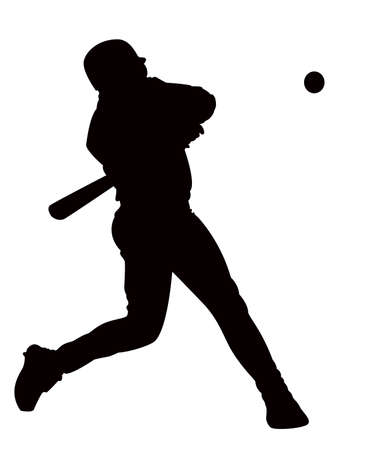 silouette: on white background, the man game of baseball. Illustration