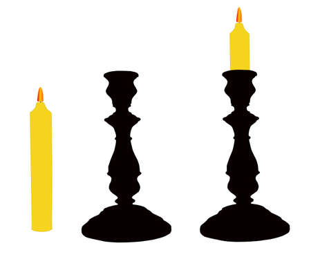 on white background two candlesticks with candle.
