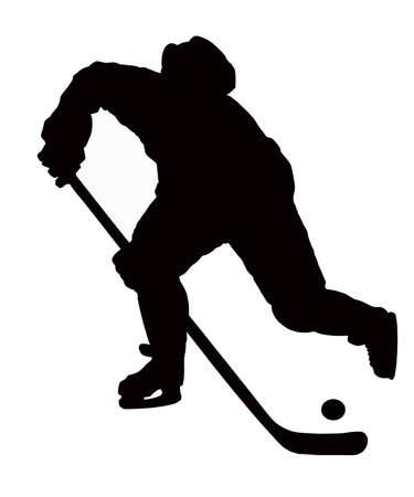 hockey sobre hielo: el jugador de hockey juega en el fondo blanco con el disco. Vectores