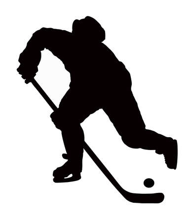 hockey stick: the hockey player plays on white background with puck.