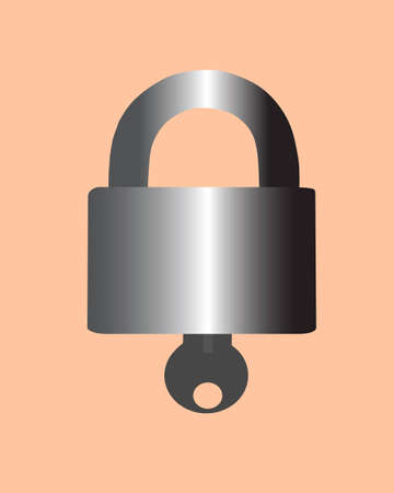 reflectance: lock and key is seen on drawing. the vector picture. Illustration