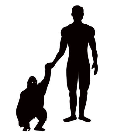 keeps: the man keeps the ape for hand, on white background. Illustration
