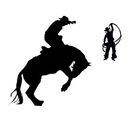 the rider and cowpuncher try to stop the horse. Vector