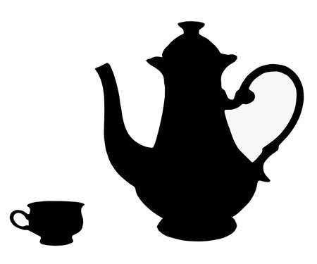 on white background, is drawn teapot and cup. Vector