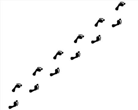 footstep: black traces of bare feet up and down Illustration