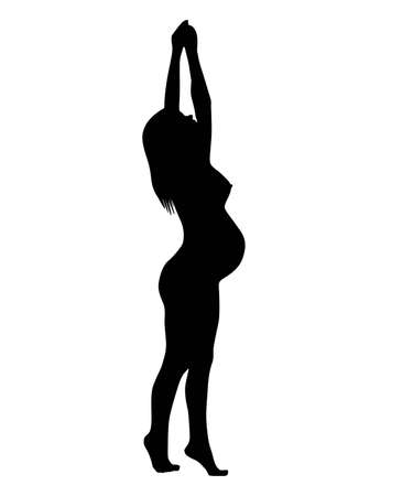 the silhouette of the pregnant woman, on white background. the vector. Stock Vector - 10829286