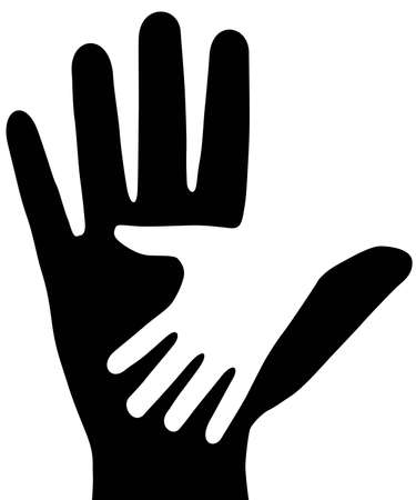 on white background, are drawn two hands.  Vector